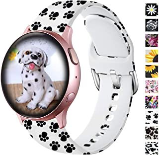 Lerobo Cute Bands Compatible with Samsung Galaxy Watch Active 2 40mm 44mm/ Active/Galaxy Watch 42mm, 20mm Soft Silicone Replacement Bands for Smartwatch Active 2/1 Women Men Paw Pattern