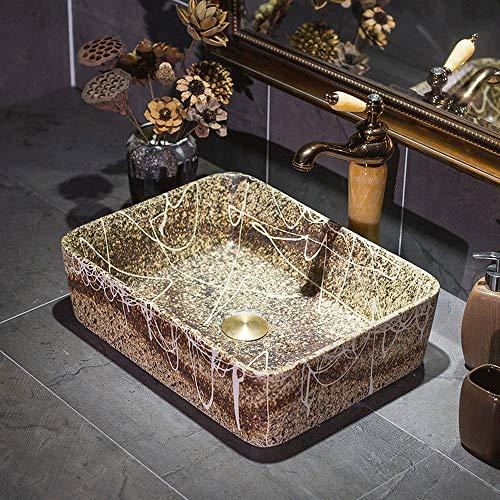 Bagno Artistico 17' Rettangolare della Porcellana Vessel Sink sopra Il Contro Brown controsoffitto lavello for lavabo Vanity Cabinet, Motivo Imitazione di Pietra Bianca Dipinta Line Art
