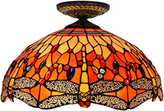Tiffany Ceiling Fixture Lamp Semi Flush Mount 16 Inch Dragonfly Stained Glass Lampshade for Dinner Room Living Room Bedroo...