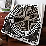 Edwiinsa Ultra Soft Reversible Throw Blankets 60'' x 80'', Greek Key Lamb Cashmere Blankets for Bed Couch, Grecian Fret and Wave on Dark Background Antique Retro Swirls