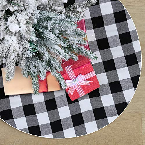 QueenDream Chritsmas Tree Skirt Plaid Buffalo Tree Skirt Black and White Party Decotaion 24Inch Holiday Party Tree Skirts for New Year Chritsmas Outdoor Decorations