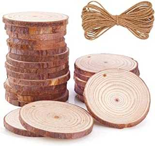 """Natural Wood Slices 30 Pcs 2.4""""-2.8"""" Round Circles Unfinished Predrilled Tree Bark Log Discs with Holes for DIY Crafts Rustic Wedding Decoration Vintage Wedding Ornaments"""