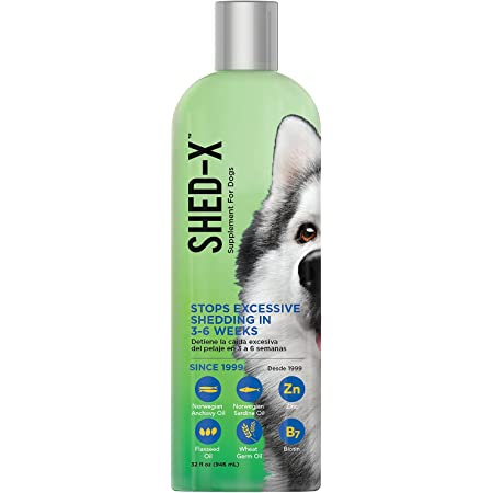 Shed-X Liquid Daily Supplement For Dogs – 100% Natural – EliminatesExcessive Dog Shedding with Daily Supplement of Essential Fatty Acids, Vitamins and Minerals