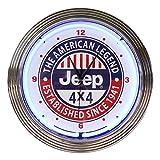 壁掛け 時計 ネオンクロック JEEP 4×4 ジープ ブルーネオン 直径38cm アメ車 ガレージ ネオン管 アメリカ雑貨