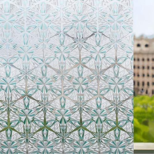 N / A Statische Fensteraufkleber grün Schneeflockenmuster blendfrei wasserdicht Hauptdekoration Farbe Sonnenschutz Glasfolie Heimdekorationsfolie A94 60x200cm