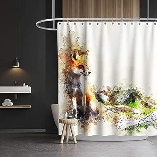 Lifeasy Fox Shower Curtain Animal Theme Watercolor Art Cloth Fabric Bathroom Decor Set with Hooks Waterproof Washable 72 x 72 inches