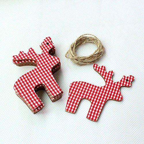 10 X Natale renna in legno decorazione Natale albero rosso appeso Tag regalo
