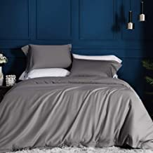 JELLYMONI Grey 100% Egyptian Cotton Duvet Cover Set,3 Piece Luxury Soft Bedding Set with Button Closure. Solid Gray Color Pattern Duvet Cover Queen Size(90