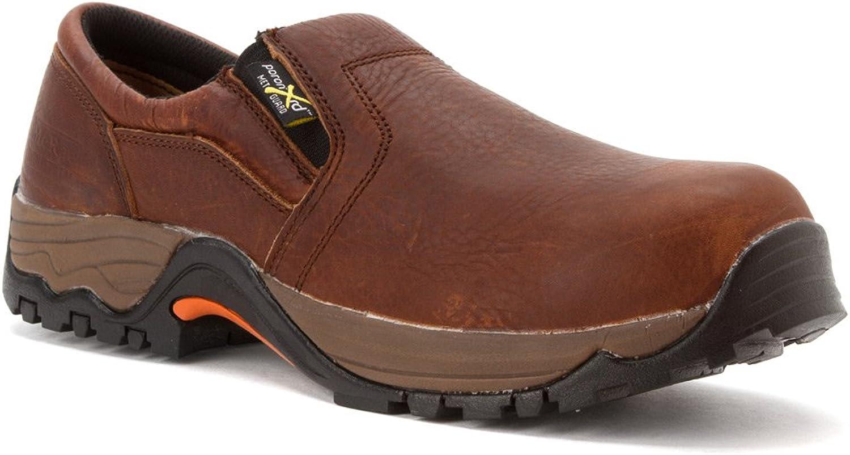 MCRAE Twin Gore Composite Toe Met Guard Slip-on Work shoes Brown