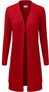 JJ Perfection Womens Light Weight Long Sleeve Open Front Long Cardigan