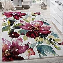 Paco Home Alfombra Moderna Efecto Lienzo con Dibujo De Flores Multicolor, tamaño:160x230 cm