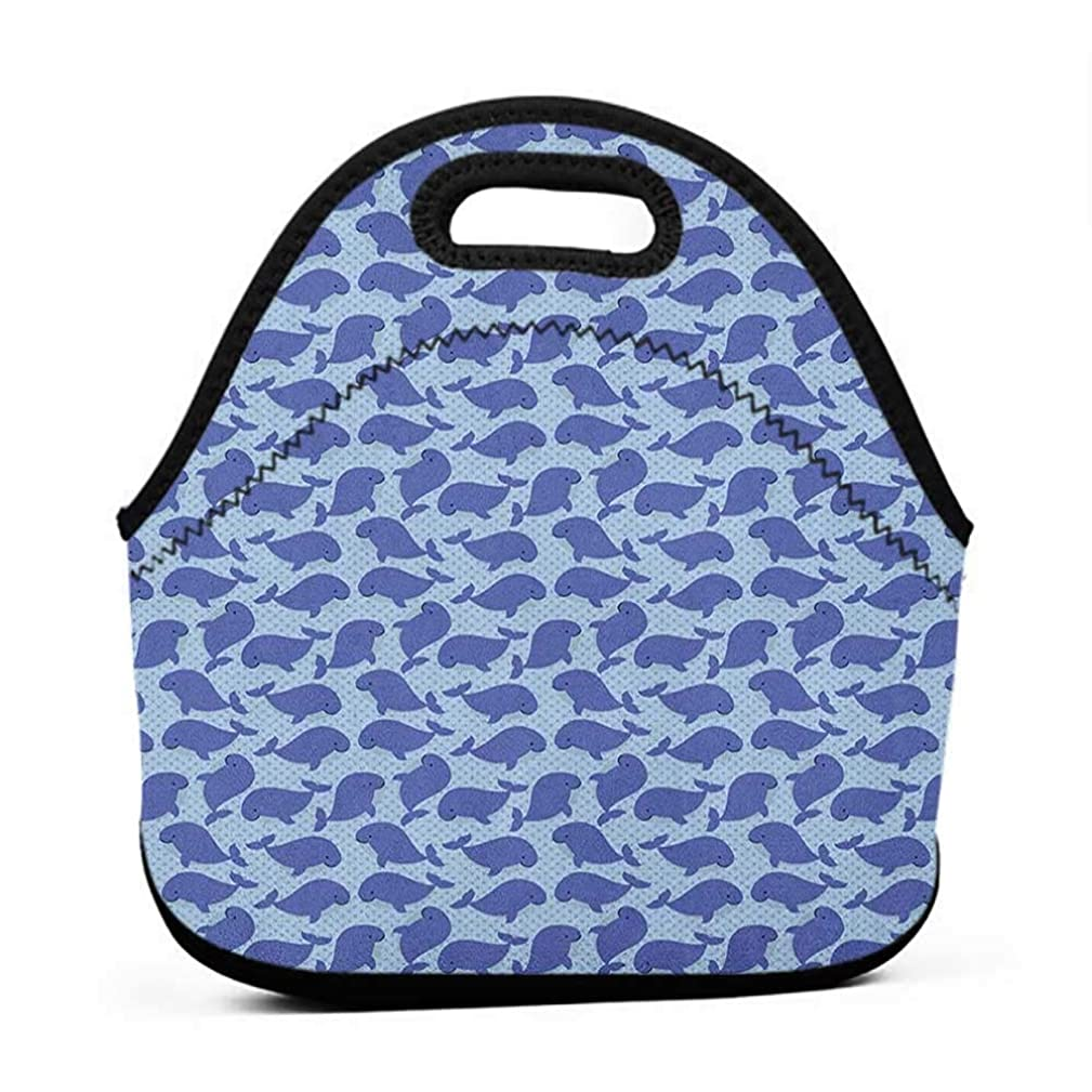 for Womens Mens Boys Girls Whale,Pattern with Cute Cartoon Whales Shoal on Blue Background with Polka Dots, Violet Blue Pale Blue,lunch bag warm and cool for men