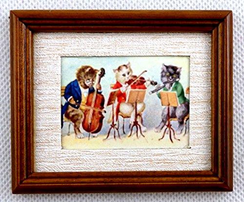 Melody Jane Casa Muñecas Gato Orchestra Cuadro en Nogal Marco Accesorio Miniatura