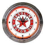 壁掛け 時計 ネオンクロック GASOLINE MOTOR OIL TEXACO テキサコ レッドネオン 直径38cm アメ車 ガレージ ネオン管 アメリカ雑貨