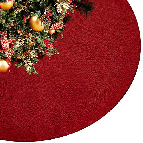 Eilaysyum Christmas Tree Skirt - 48 inches Large Rustic Xmas Burlap Plain Tree Skirts for Holiday Party Christmas Decorations Indoor Outdoor (Red)