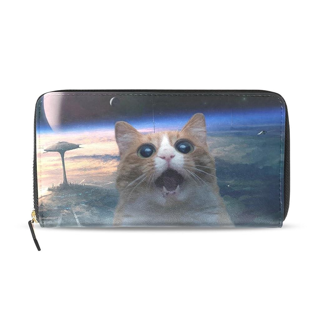 勇気味付けジョットディボンドンGORIRA(ゴリラ) にゃう星 助けを求める 猫 長財布 レディース ダブルサイド印刷 ファスナー開閉式 ウォレット