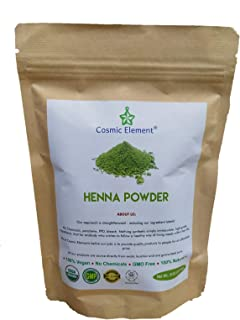 USDA Organic Hair Coloring & Conditioning Powder By Cosmic Element - 227 Gram (8 Oz) Medium Pack - 100% Chemical Free Natural Henna Hair Dye - Vegan Safe - For Men & Women (8 oz, Pure Henna)
