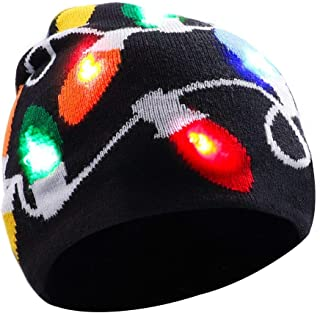 Stylish LED Light Up Beanie Hat Knit Cap Best Presents for Unisex Men Women Adults Kids Girls Boys Indoor and Outdoor, Festival, Holiday, Celebration, Parties, Bar Black