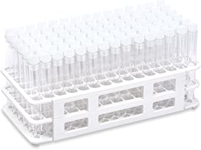 Kit, With White Plastic Well Rack, 90 each 13x100mm Plastic PS Tubes and 13mm Natural Flange Caps (Each) Karter Scientific 402O2