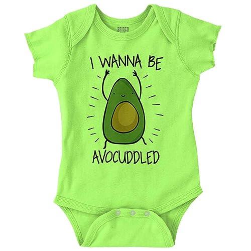 Brisco Brands Wanna Be Avocuddled Cute Funny Food Pun Romper Bodysuit 0e3b45828