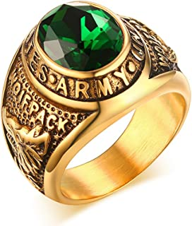 Stainless Steel Green Rhinestone US Army Ring for Men,Gold Plated,Size 8-12