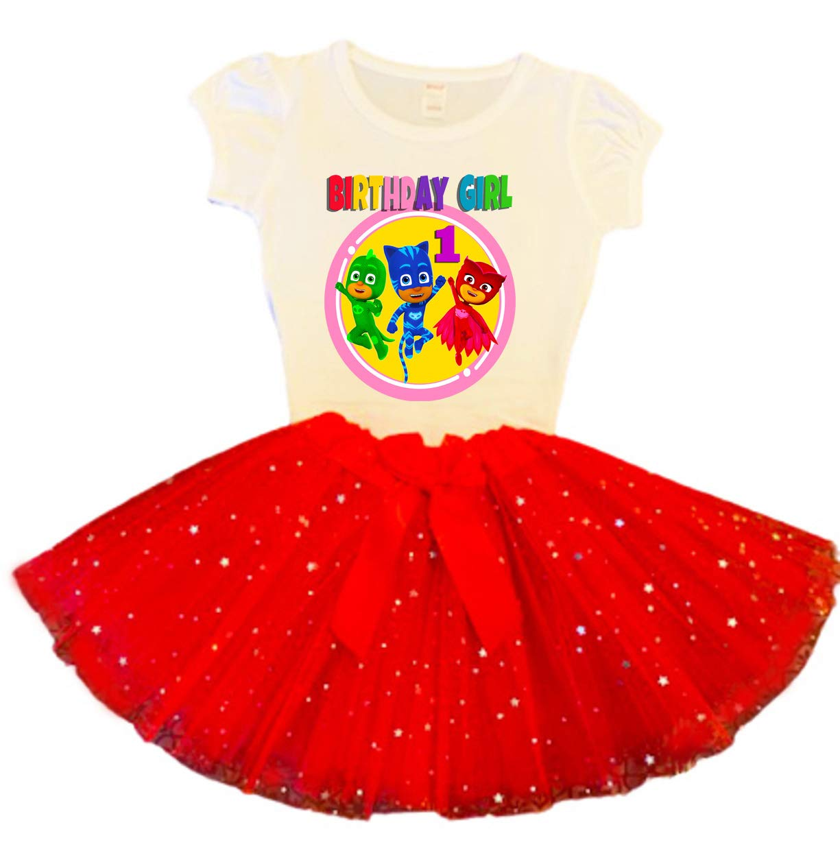 PJ Masks Birthday Tutu 1st Manufacturer Arlington Mall OFFicial shop Party Outfit Dress Red