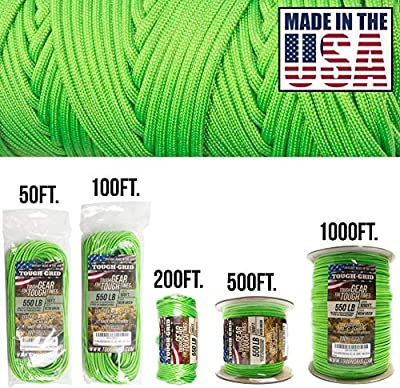 TOUGH-GRID 550lb Neon Green Paracord/Parachute Cord - 100% Nylon Genuine Mil-Spec Type III Paracord Used by The US Military - (MIL-C-5040-H) - Made in The USA. 100Ft. - Neon Green