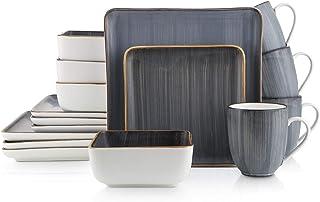 Stone Lain Brushed Square Porcelain Dinnerware Set, Service For 4, Gray