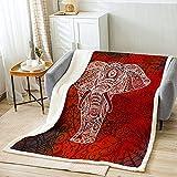 Manta de cama de elefante bohemio, con patrón de mandala, suave, acogedora, ligera, con patrón de cachemira, de felpa, elegante, exótica, regalo para sofá, cama, silla, oficina sofá (127 x 152 cm)