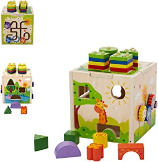 Flow.month Educational Wooden Activity Cube with Shape Color Recognition Geometric Board Blocks Stacking Sort Toddler Toys Kids Gifts for 1 2 3 4 Year Old Girl and Boy