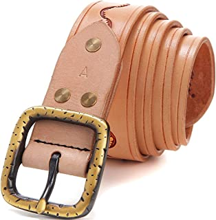 Women's Handmade Leather Belt With Suede Leather Pin Buckle Pure Copper Buckle Belt (Color : Beige)