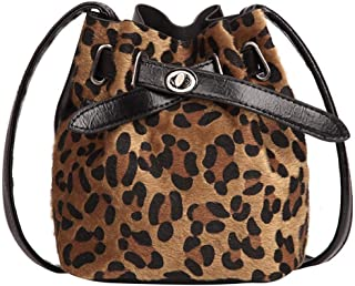 OHQ Bolso Bandolera Leopardo De Gamuza para Mujer Estampado De Felpa Messenger Bolso Cubo Messenger Crossbody Clip Billete...