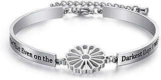 Dec.bells Jewellery Silver Inspirational Sunflower Bracelet I Want to be Like a Sunflower Bangle Bracelet Motivational Pre...