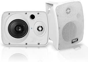 Outdoor Waterproof Wireless Bluetooth Speaker - 5.25 Inch Pair 2-Way Weatherproof Wall/Ceiling Mounted Dual Speakers w/Heavy Duty Grill, Universal Mount, Patio, Indoor Use - Pyle PDWR54BTW (White)