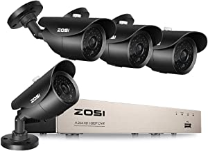 ZOSI 1080P Security Camera System 8 Channel HDMI 4 in 1 CCTV DVR with 4 Pack 2.0MP Bullet Cameras 120ft night vision weatherproof with no HDD Outdoor Indoor Surveillance System