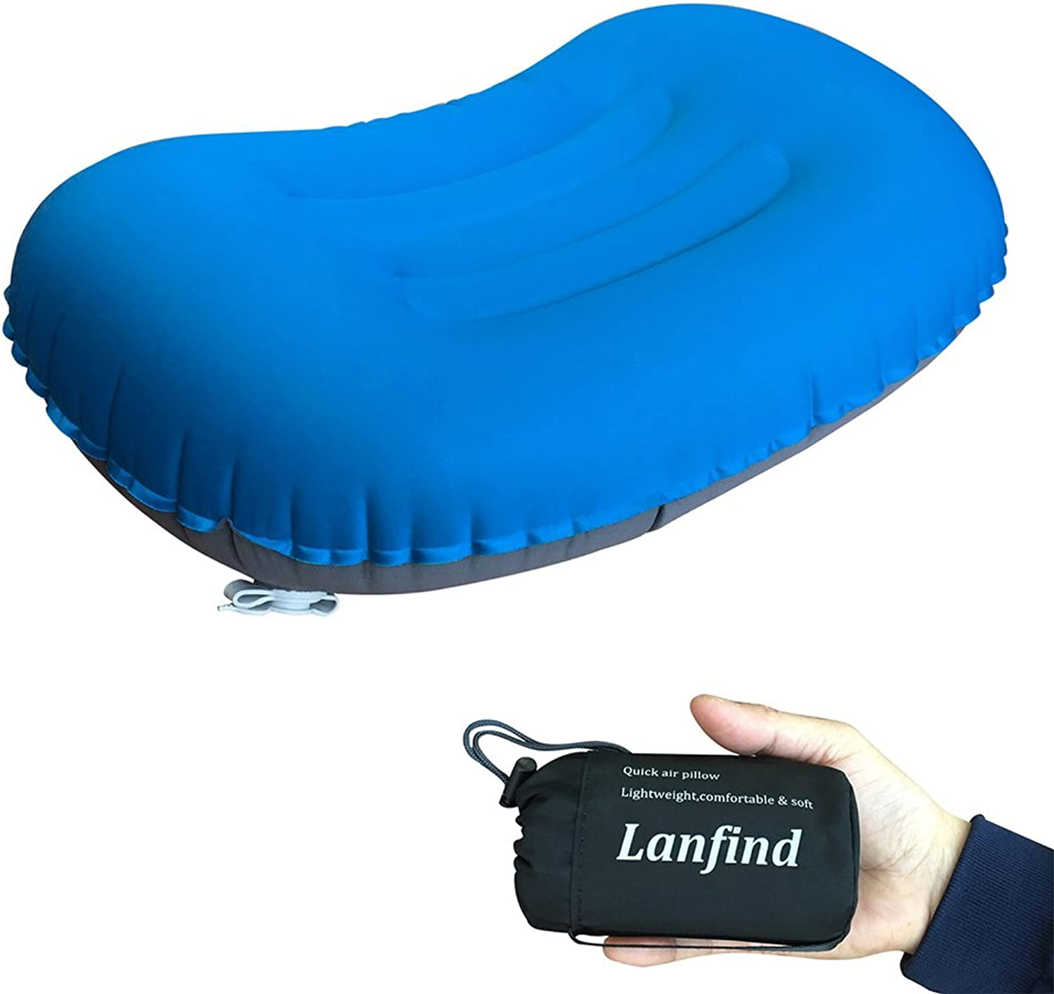 LANFIND Inflatable Pillow for Camping Hiking Travel Comfortable Lightweight Compressible Pillow for Neck & Lumbar Support (blueee)