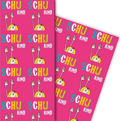 Pinkes Kinder Geschenkpapier zu Einschulung mit Mädchen