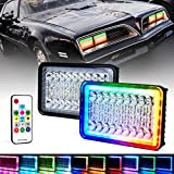 Xprite 4X6 RGB LED Headlights w/Wireless Remote Control, Color Changing Halo Ring Headlight Conversion for H4651 H4652 H4656 H4666 H6545 Peterbil Kenworth Freightinger Ford Probe Chevrolet