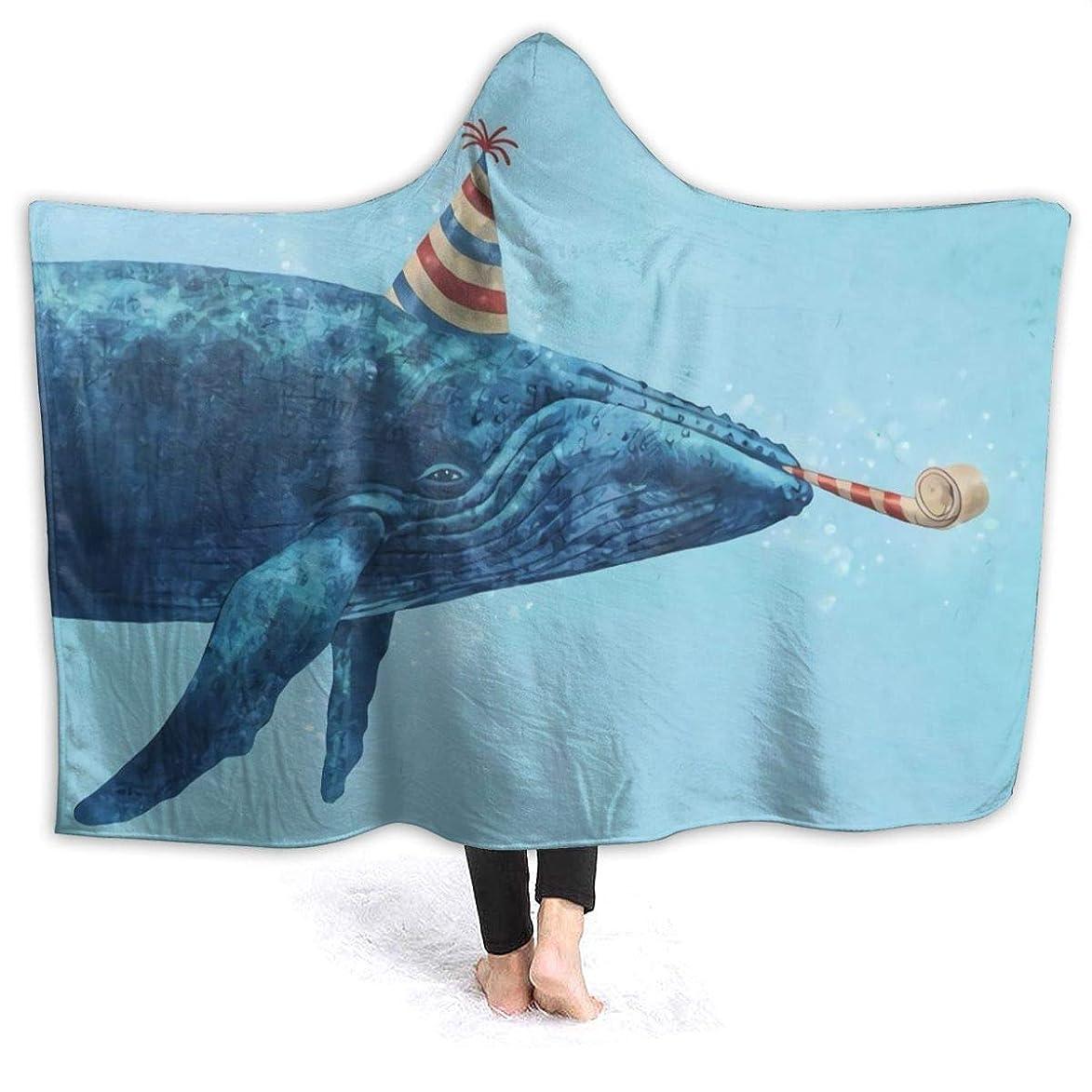 健全ラケット何故なのHR.LLM クジラ サーカス フード付き毛布 着る毛布 毛布 膝掛け毛布 ラップタオル 冷房/防寒対策 防寒保温 防静電加工 軽量 厚手 大判