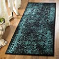 """Safavieh Adirondack Collection ADR109K Oriental Distressed Non-Shedding Stain Resistant Living Room Bedroom Runner, 2'6"""" x 6' , Black / Teal"""