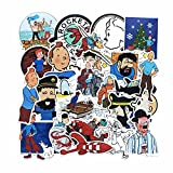 CHENX Aventuras de Dibujos Animados de Tintin Pegatina Maleta Trolley Maleta portátil Pegatinas Impermeables 25 Hojas