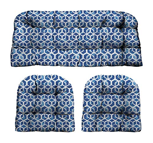 """RSH Décor Indoor Outdoor Decorative 3 Piece Tufted Love Seat/Settee & 2 U-Shaped Chair Cushion Set for Wicker (Standard ~ 2-19""""x19"""" & 41""""x19"""", Celtic Admiral Blue Geometric)"""