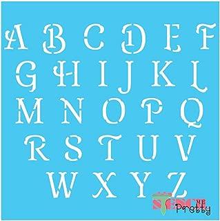 French Script Alphabet Stencil-XL3 (2.5