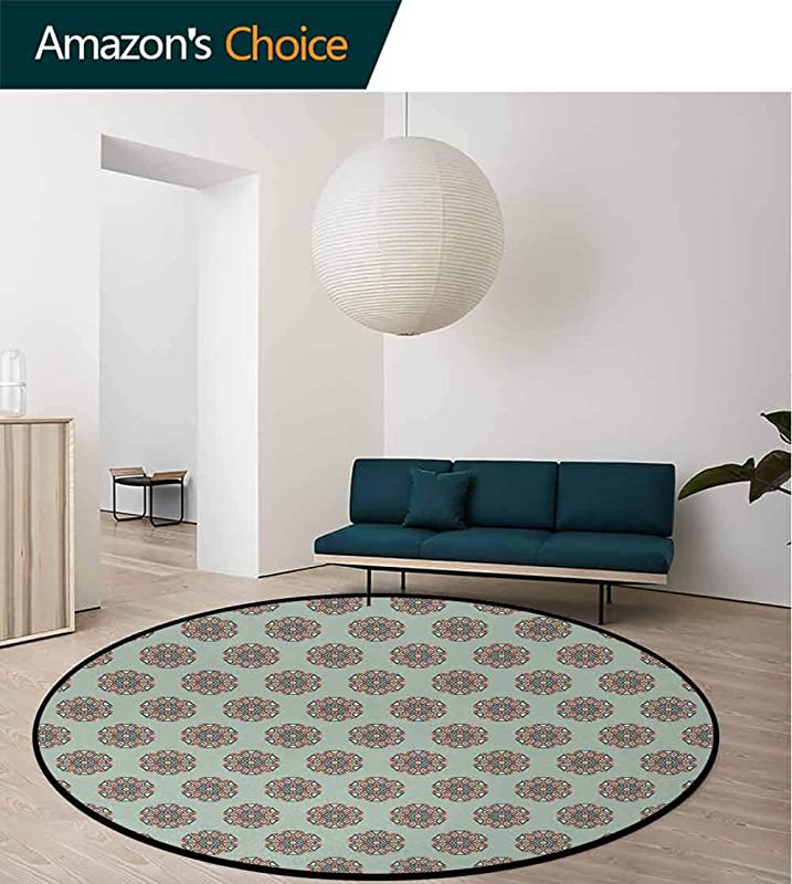 Abstract Modern Washable Round Bath Mat Mandala Style Geometric Hexagon With Arabesque Folk Eastern Effects Composition Non Slip Bathroom Soft Floor Mat Home Decor Diameter 35 Inch Multicolor