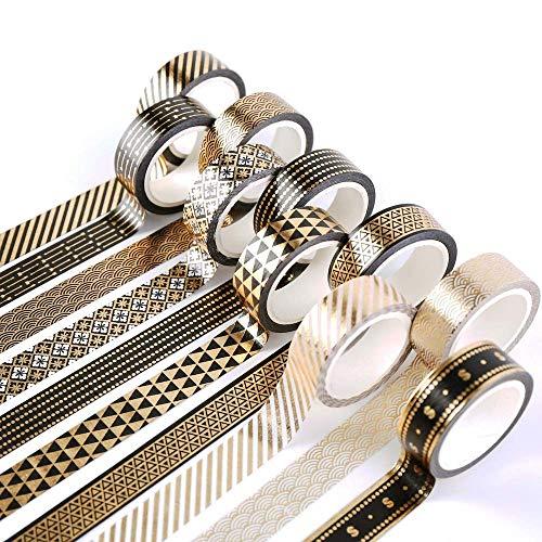 YUBBAEX 10 Rollen Washi Tape, Masking Tape schwarz-goldene Foliendruck, dekoratives Klebeband für Scrapbooking, Bullet Tagebuch, Planer, Geschenkverpackung, Urlaubsdekoration