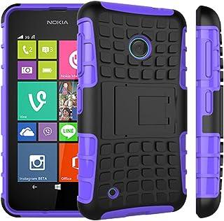 TECHGEAR Nokia Lumia 530 Tuff robust kraftig kraftig stöt skyddande fodral med stativ + skärmskydd med rengöringsduk, PURP...