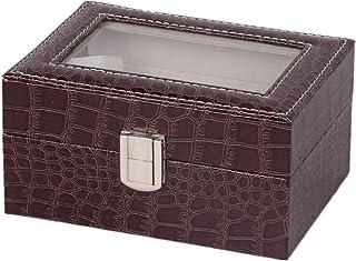 QinWenYan Boîte de Montre Boucle en Métal 3 Fente De Montre en Cuir Boîte De Rangement D'affichage Écrins pour Montres (Co...