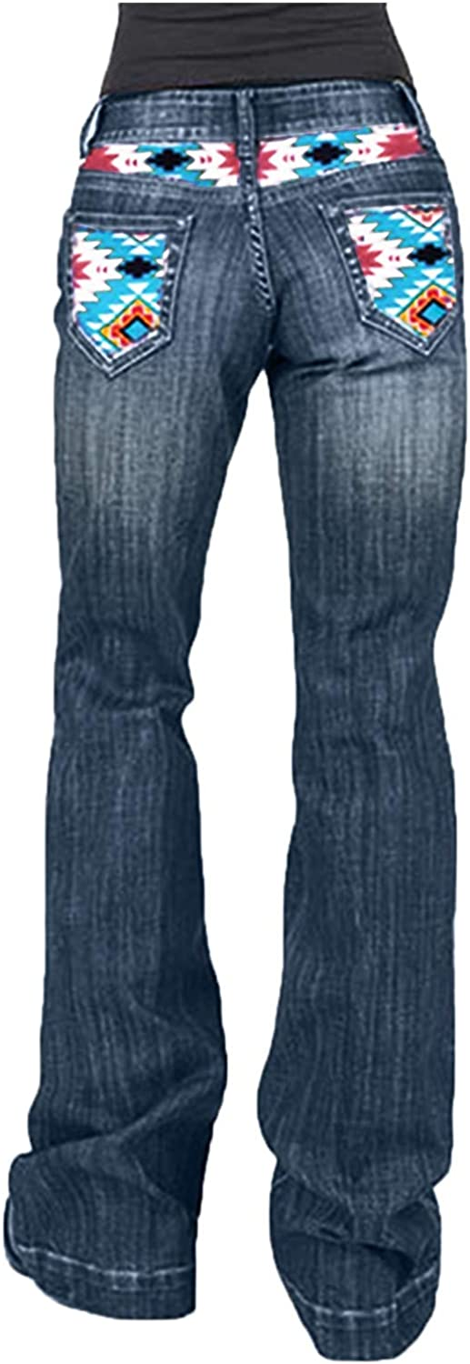 Kinsaiy High Waisted Denim Jeans for Womens,Retro Geometric Pattern Straight Denim Jean Casual Trousers with Pockets