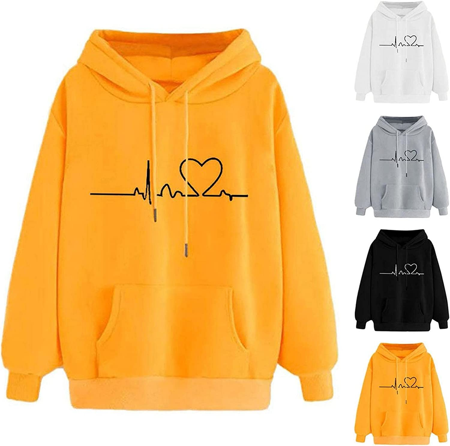 Fudule Cute Hoodies for Teen Girls Heart Graphic Sweatshirts with Pocket Women Lightweight Pullover Casual Loose Blouses