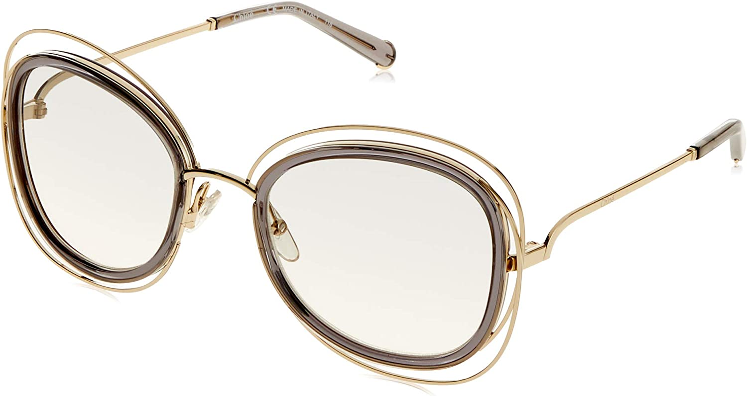 Chloe Coloured Carlina Square Sunglasses in gold Transparent Grey CE123 S 731 56 56 Gradient Grey